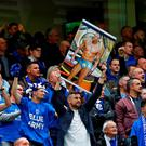 Leicester City fans with a banner featuring Gary Lineker
