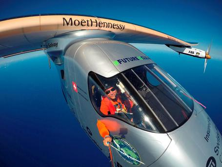 Piccard taking a selfie on board Solar Impulse 2 during a test flight over the Pacific Ocean (Bertrand Piccard/Global Newsroom via AP)