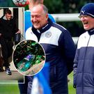 Claudio Ranieri looks happy to be back at training and (inset) Jamie Vardy leaves his house after last night's party with an empty blue wicket bottle lying outside