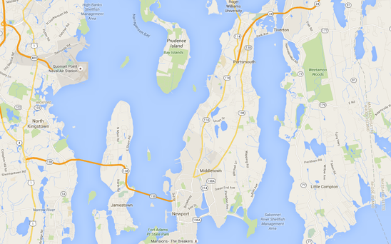 Rhode Island's Newport Harbour. Photo: Google maps
