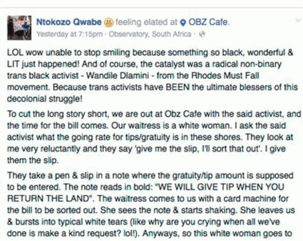 The Facebook post which appears to be written by Ntokozo Qwabe. He says later 'go to your fellow white people and mobilise for them to give us our land back.' (Gofundme.org)