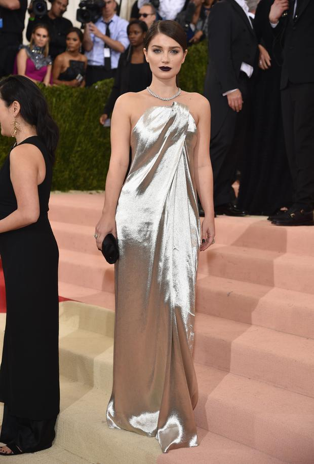 Eve Hewson in a strapless Monse dress. (Photo by Dimitrios Kambouris/Getty Images)