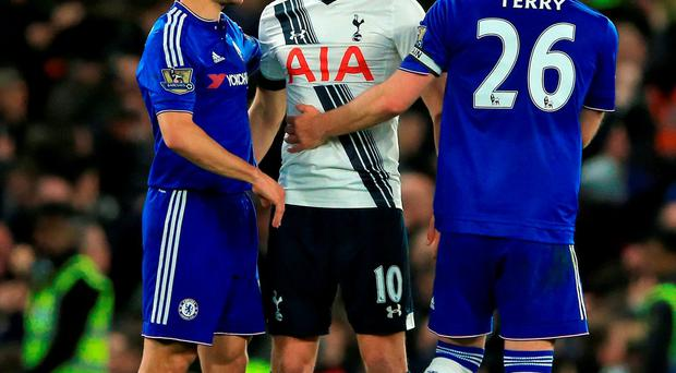 Chelsea's Cesar Azpilicueta (left) and John Terry shake hands with Tottenham Hotspur's Harry Kane