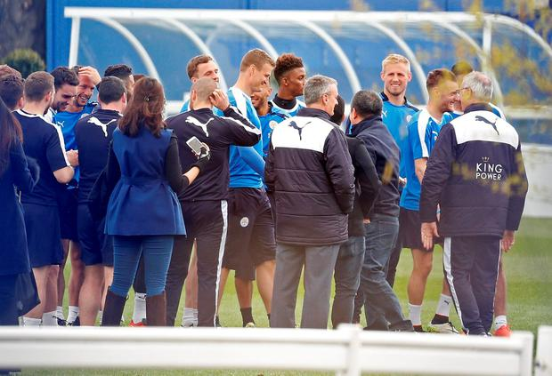 Britain Soccer Football - Leicester City celebrate winning Premier League title - Leicester - 3/5/16 Leicester manager Claudio Ranieri (R) with his players during training Action Images via Reuters / Craig Brough Livepic EDITORIAL USE ONLY.