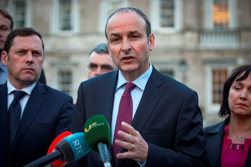 Fianna Fail leader Micheal Martin gives the party's response to the deal between Fine Gael and Fianna Fail at Leinster House. Pictures:Arthur Carron