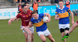 Ciaran Kilkenny holds off the challenge of Declan Lally during Castleknock's win over St Oliver Plunketts (Justin Farrelly)