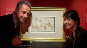 Martin Clayton, head of prints and drawings, Royal Collection Trust, and Anne Hodge, curator of prints and drawings at the National Gallery of Ireland, at a preview of Leonardo da Vinci's 10 drawings Photo: Arthur Carron