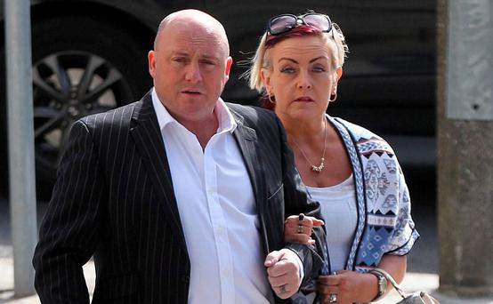 Dave Mahon and his wife Audrey Fitzpatrick outside court. Pic Collins Courts