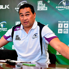 Pat Lam at yesterday's press conference where he produced a breakdown of Connacht's international players (SPORTSFILE)