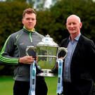 Walter Walsh and Kilkenny manager Brian Cody at the Leinster championships launch in Rathfarnham's Pearse Museum (SPORTSFILE)