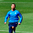Cristiano Ronaldo going through his paces at training yesterday (Getty Images)