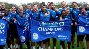 Yesterday's training session turned into a Premier League title celebration for Leicester City players (Getty Images)