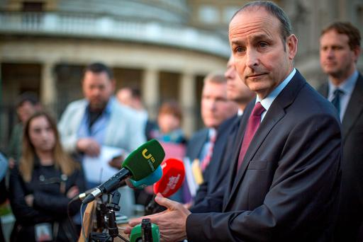 Fianna Fail leader Micheal Martin gives the parties response to the deal between Fine Gael and Fianna Fail at Leinster House. Photo: Arthur Carron