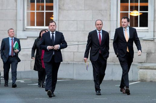Pictured is Fianna Fail Leader Micheal Martin TD 2nd from right, with Charlie McConalogue TD, right, and Barry Cowen TD before talking to the media at the Dail this evening. Photo: RollingNews.ie