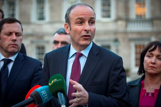 Fianna Fail leader Micheal Martin gives the parties response to the deal between Fine Gael and Fianna Fail at Leinster House. Pictures:Arthur Carron