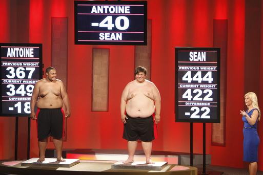 One of the contestants, Sean Algaier (centre), now weighs more than when he entered the show. (Photo by: Chris Haston/NBC/NBCU Photo Bank via Getty Images)