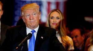 Republican U.S. presidential candidate and businessman Donald Trump pauses as he speaks to supporters after his rival, Senator Ted Cruz, dropped out of the race for the Republican nomintion following the results of the Indiana state primary, at Trump Tower in Manhattan, New York, U.S., May 3, 2016