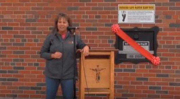 Monica Kelsey opening Indiana's first baby box at Woodburn fire station abitibibob/ Youtube