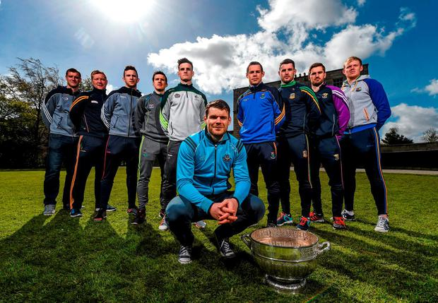 In attendance at the launch of the 2016 Leinster GAA Senior Championships are footballers, from left, Laois' Donal Kingston, Offaly's Alan Mulhall, Carlow's Darragh Foley, Kildare's Eoin Doyle, Dublin's Kevin McManaman, Wicklow's John McGrath, Meath's Donal Keogan, Wexford's Brian Malone, Longford's Paddy Collum. Pearse Museum, Rathfarnham, Dublin. Picture credit: Ramsey Cardy / SPORTSFILE