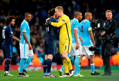 Real Madrid's Gareth Bale and Manchester City goalkeeper Joe Hart shake hands after the final whistle of the UEFA Champions League semi-final first leg.