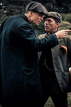Cillian Murphy and Packy Lee in a scene from Peaky Blinders