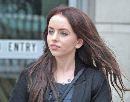 Orla O'Hanlon leaves Belfast Crown Court this afternoon after being cleared of all the charges against her relating to her alleged role in a so-called republican 'Bomb Factory'.