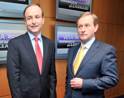 Party leaders Micheal Martin and Enda Kenny Photo: Barbara Lindberg