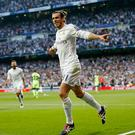 MADRID, SPAIN - MAY 04: Gareth Bale of Real Madrid celebrates after scoring the opening goal during the UEFA Champions League Semi Final second leg match between Real Madrid and Manchester City FC at Estadio Santiago Bernabeu on May 4, 2016 in Madrid, Spain. (Photo by Victor Carretero/Real Madrid via Getty Images)