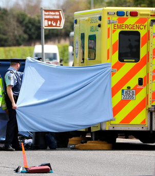 Emergency services at the scene of the fatal collision on the N11, near Cabinteely, Dublin Photo: Brian Dowling