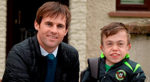 Aviva's FAI Junior Cup ambassador Kevin Kilbane surprises Pike Rovers super fan Luke Grimes with VIP tickets for the final on Saturday week (SPORTSFILE)