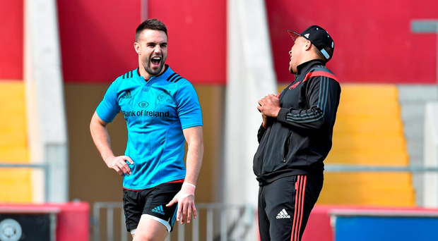 Conor Murray and Simon Zebo share a joke during Munster training this week (SPORTSFILE)