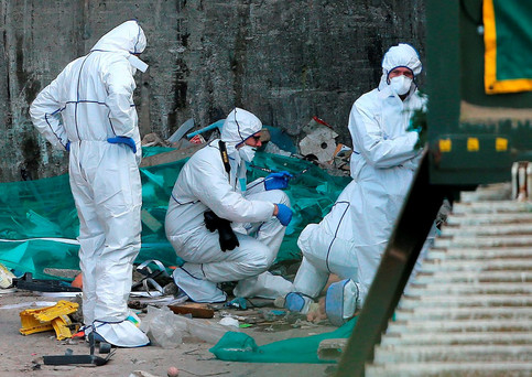 Forensic detectives inspect the location where the body of a little girl was found at a waste recycling facility outside Bray, Co Wicklow Photo: Niall Carson/PA Wire