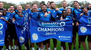 Leicester City players celebrate their Premier League title victory (Getty Images)