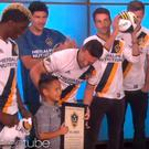 Robbie Keane presents Kai (7) with an LA Galaxy contract on The Ellen Show