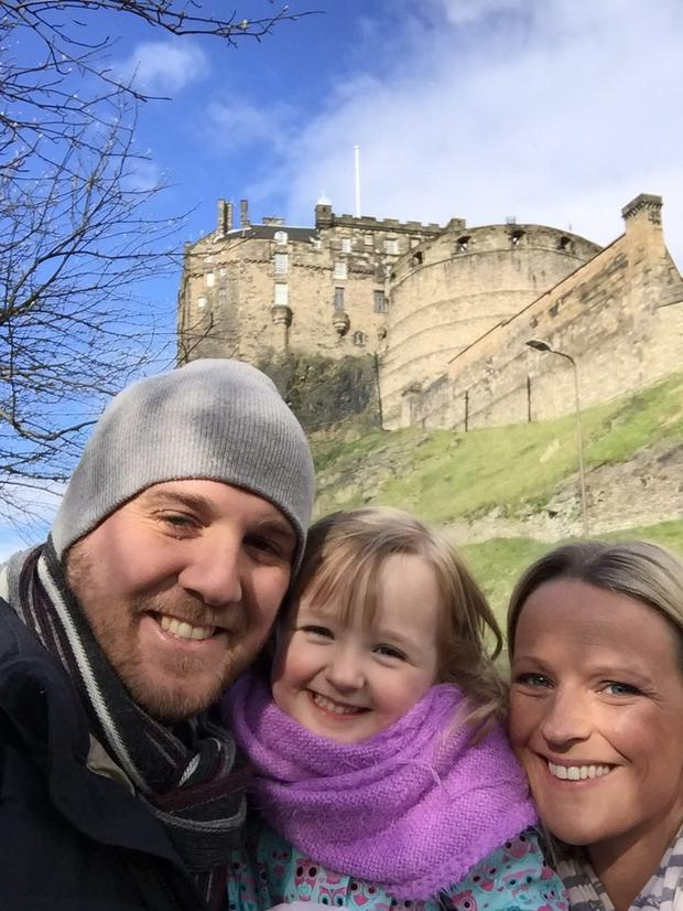 Sinead Hingston pictured with her daughter Lily and boyfriend Michael