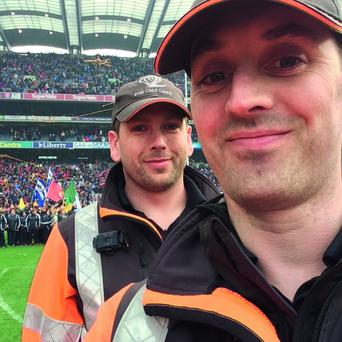 Dermot McBrierty and Keith Plummer from Howth Coast Guard in Croke Park. Dermot McBrierty