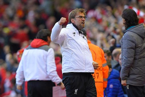 Liverpool's German manager Jurgen Klopp celebrates