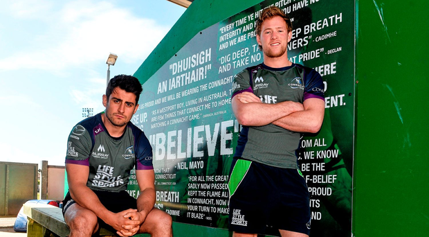 Ireland internationals Kieran Marmion and Tiernan O'Halloran, as well as Bundee Aki, Matt Healy, James Connolly and other Connacht stars were joined by members of the Connacht Clan for the event (SPORTSFILE)