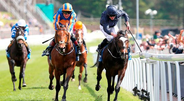 US Army Ranger (right) ridden by Ryan Moore wins The MBNA Chester Vase from Port Douglas (left) Photo: Martin Rickett/PA Wire