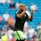 Vincent Kompany's injury record may prompt Pep Guardiola to replace him Photo: Reuters