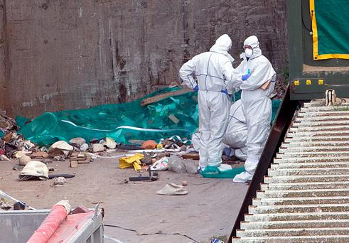 The body was discovered by staff at the recycling plant. Photo: Tony Gavin