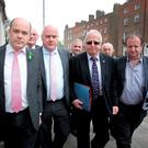 Independent deputies Denis Naughten, Noel Grealish, Mattie McGrath and Michael Collins arrive for talks. Photo: Tom Burke