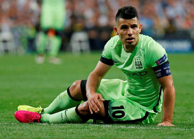 Sergio Aguero looks dejected during Wednesday's defeat to Real Madrid Photo: Reuters