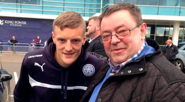 Limerick publican Mike Buckley with Leicester City striker Jamie Vardy outside the King Power Stadium. Photo: Press 22