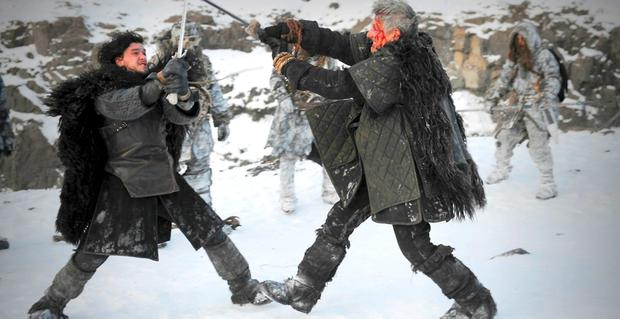 Harington in action as Jon Snow in the hit show 'Game of Thrones'