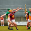 Darragh Egerton, Westmeath, in action against Paddy Rigney, left, and Pat Camon, Offaly