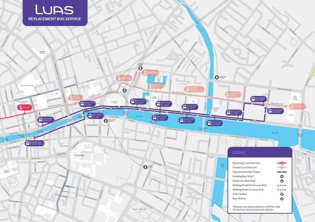 The replacement bus service. Photo: Luas