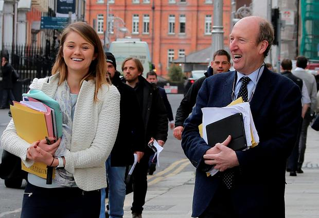 Independent deputy Shane Ros accompanied by Aisling Dunne of the Independent Alliance co-ordinators arriving for the talks . Pic: Tom Burke