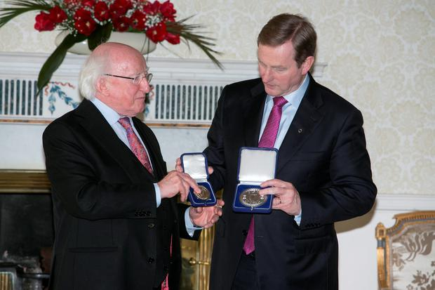 Taoiseach Enda Kenny receiving the seal of office (Photo: Kyran O'Brien)