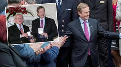 Enda Kenny leaves for the Áras (Inset: Enda Kenny and President Michael D Higgins with the seal of office)